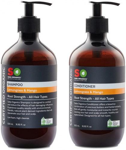 Saba Organics (BOGOF) Hair Pack - Lemgrass/Mango Shampoo + Conditioner