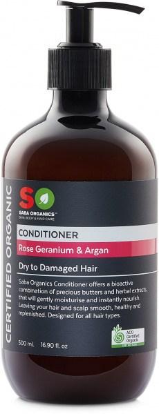 Saba Organics Conditioner Rose Geranium & Argan 500ml NOV22