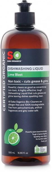 Saba Organics Dishwashing Liquid Lime Blast 500ml