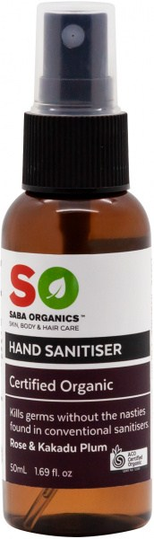 Saba Organics Hand Sanitiser Rose & Kakadu Plum 125ml
