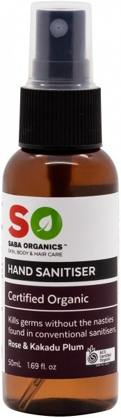 Saba Organics Hand Sanitiser Rose & Kakadu Plum Spray 50ml