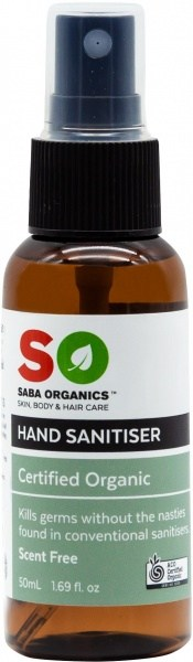 Saba Organics Hand Sanitiser Scent Free Spray 50ml