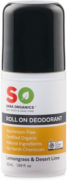 Saba Organics Roll On Deodorant Lemongrass & Desert Lime 50ml