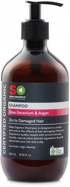 Saba Organics Shampoo Rose Geranium & Argan 500ml NOV22