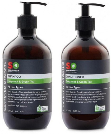 Saba Orgnaics (BOGOF) Hair Pack - Bergamot/Green Tea Shampoo + Conditioner