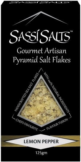 Sassi Salts Gourmet Artisan Pyramid Salts Lemon Pepper 125g