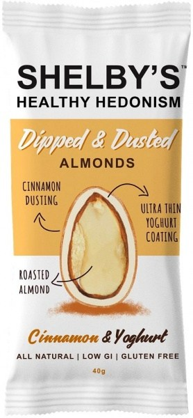 Shelby's Dipped & Dusted Almonds Cinnamon & Yoghurt  40g