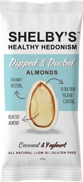 Shelby's Dipped & Dusted Almonds Coconut & Yoghurt  40g