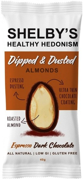 Shelby's Dipped & Dusted Almonds Espresso Dark Chocolate  40g