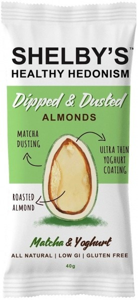 Shelby's Dipped & Dusted Almonds Matcha & Yoghurt  40g
