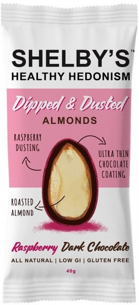 Shelby's Dipped & Dusted Almonds Raspberry Dark Chocolate  40g
