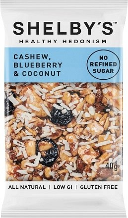 Shelby's Healthy Hedonism Cashew, Blueberry & Coconut 12x40g