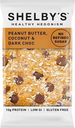 Shelby's Healthy Hedonism Peanut Butter, Coconut & Dark Choc 12x40g
