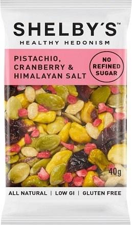 Shelby's Healthy Hedonism Pistachio, Cranberry & Himalayan Salt 12x40g