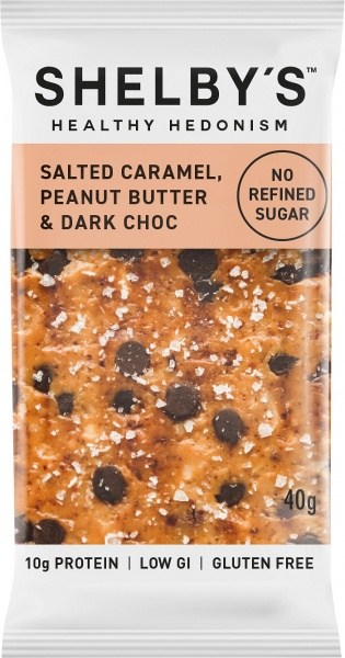 Shelby's Healthy Hedonism Salted Caramel,Peanut Butter&Drk ChocG/F 40g NOV21