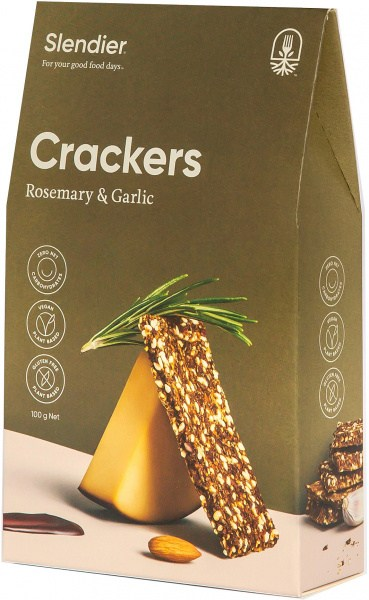 Slendier Rosemary & Garlic Crackers 100g