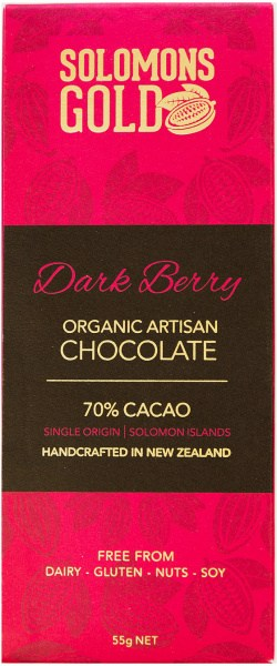 Solomons Gold Dark Berry Organic Artisan Chocolate 70% Cacao  55g Feb22