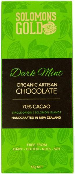 Solomons Gold Dark Mint Organic Artisan Chocolate 70% Cacao  55g