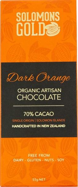 Solomons Gold Dark Orange Organic Artisan Chocolate 70% Cacao  55g
