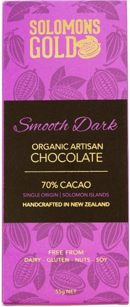 Solomons Gold Smooth Dark Organic Aritsan Chocolate 70% Cacao  55g