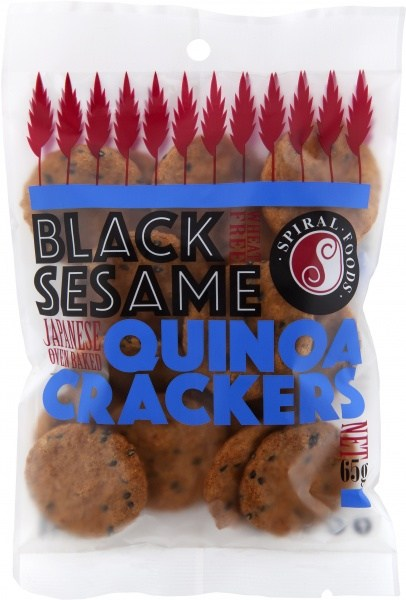 Spiral Black Sesame Quinoa Crackers  65g