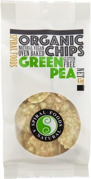 Spiral Organic Green Pea Chips  45g