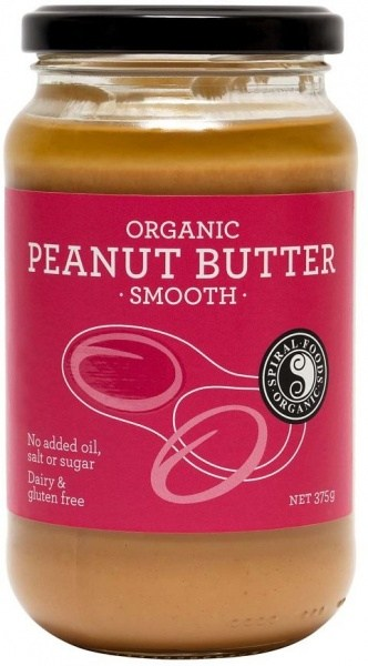 Spiral Organic Smooth Peanut Butter  Glass 375g