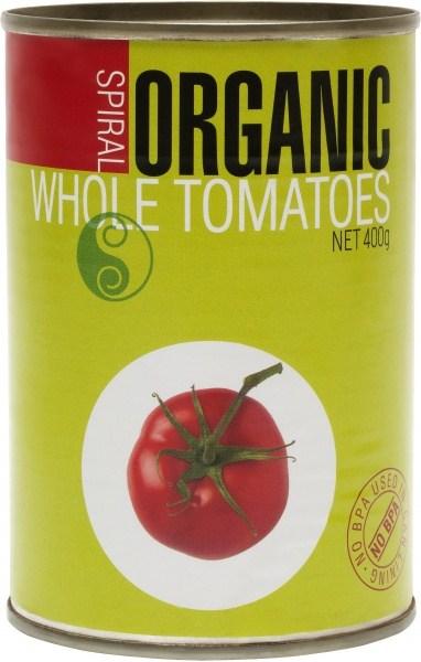 Spiral Organic Whole Peeled Tomato  400g