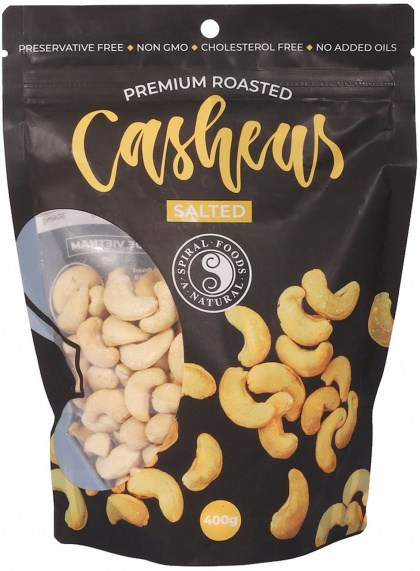 Spiral Premium Roasted Cashews Salted 400g