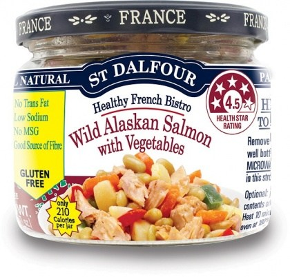 St Dalfour Healthy French Bistro Wild Alaskan Salmon with Vegetables Gluten Free in Glass 200g