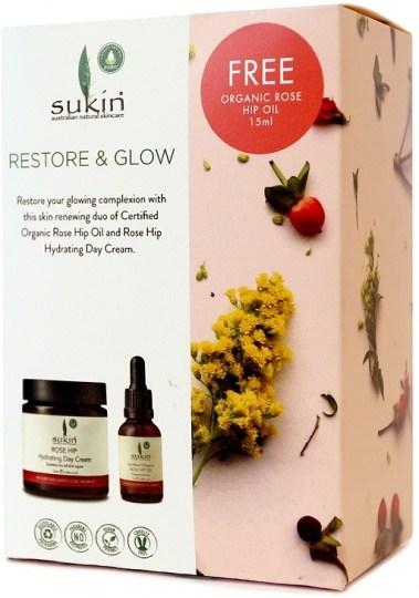 Sukin Restore & Glow (Rose Hip Hydrating Day Cream 120ml+Free Rose Hip Oil 15ml)GWP