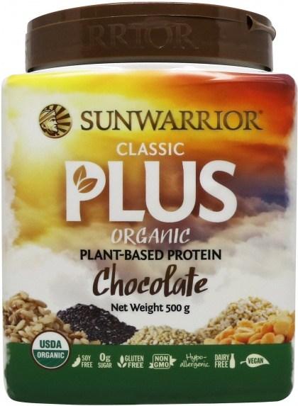 Sunwarrior Classic Plus Organic Plant Based Protein Chocolate Powder 500g