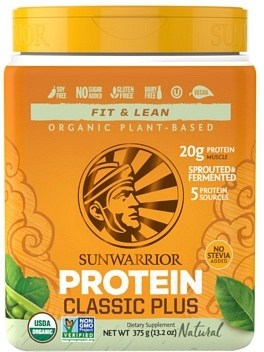 Sunwarrior Classic Plus Organic Plant Based Protein Natural Powder  Vegan 375g