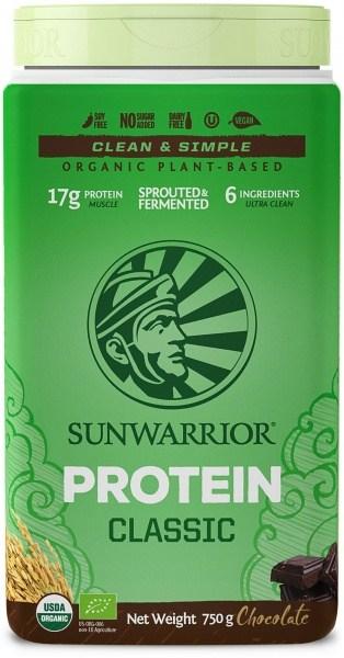 Sunwarrior Organic Plant Based Protein Blend Chocolate Powder G/F 750g MAR21