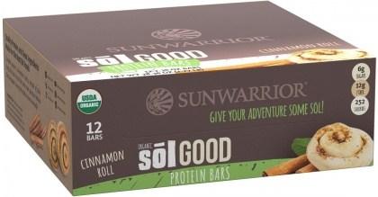 Sunwarrior Sol Good Organic Protein Bars Cinnamon Roll 12x62g