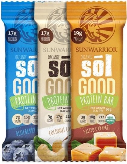 Sunwarrior Sol Good Organic Protein Bars Mixed 12x62g