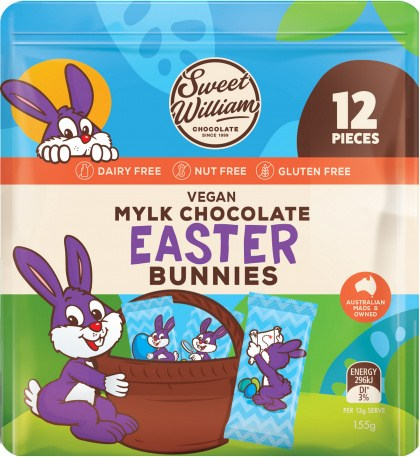 Sweet William Chocolate Easter Bunnies 12Pieces Multipack  155g