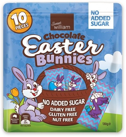 Sweet William Chocolate Easter Bunnies NAS 10Pieces Multipack 130g
