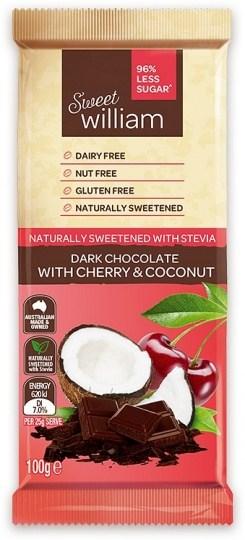 Sweet William NAS Dark Chocolate with Cherry & Coconut  100g
