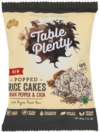 Table of Plenty Popped Rice Cakes Black Pepper & Chia 60g