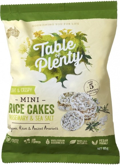 Table of Plenty Popped Rice Cakes Rosemary & Sea Salt 60g
