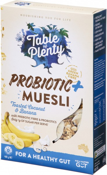 Table of Plenty Probiotic + Muesli (Toasted Coconut & Banana) 400g