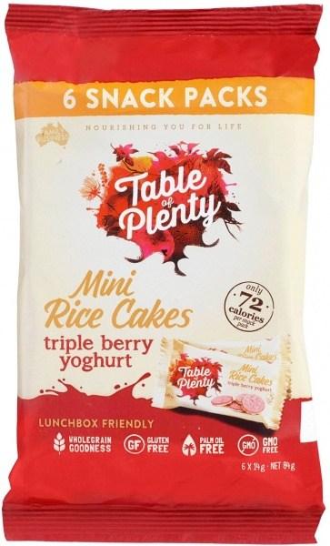 Table of Plenty Triple Berry Yoghurt  Mini Rice Cakes 6x14g Snack Packs  84g