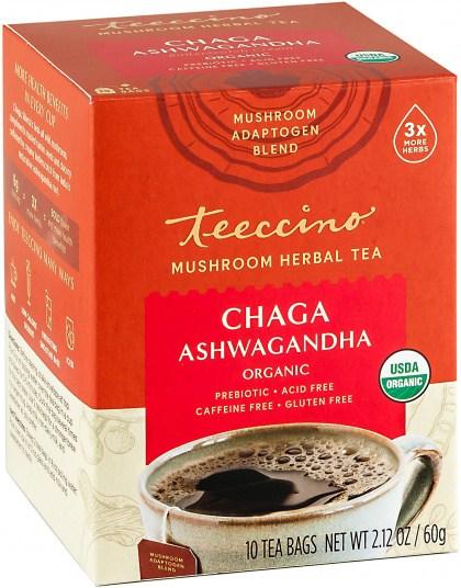 Teeccino Chaga Ashwagandha Mushroom Adaptogen 10Teabags Box 60g