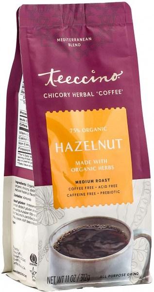 Teeccino Chicory Herbal Coffee All Purpose Grind Hazelnut Medium Roast No Caf 312g