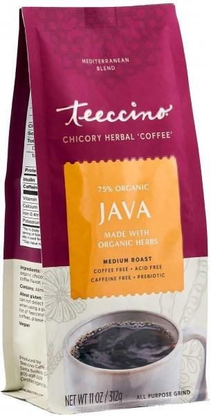 Teeccino Chicory Herbal Coffee All Purpose Grind Java Medium Roast No Caf 312g
