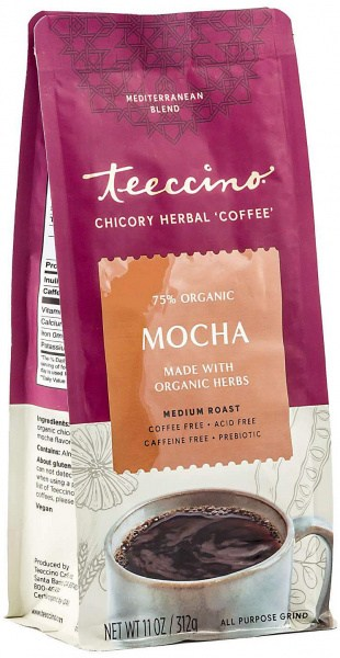 Teeccino Chicory Herbal Coffee All Purpose Grind Mocha Medium Roast No Caf 312g