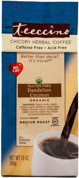 Teeccino Chicory Herbal Coffee All Purpose Grind Dandelion Coconut Medium Roast  No Caf 284g