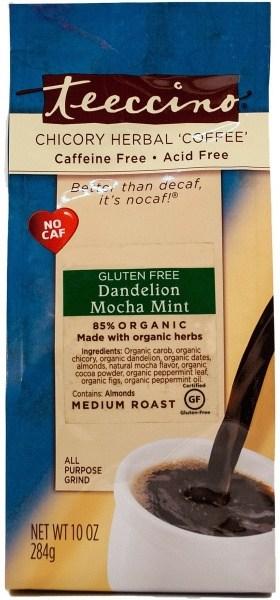 Teeccino Chicory Herbal Coffee All Purpose Grind Dandelion Mocha Mint Med Roast  No Caf 284g
