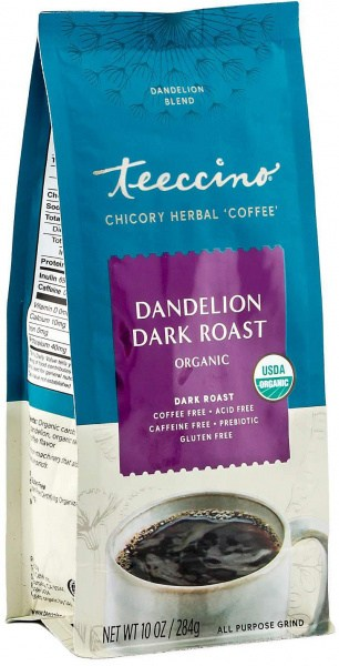 Teeccino Chicory Herbal Coffee Organic All Purpose Grind Dandelion Dark Roast  No Caf 284g